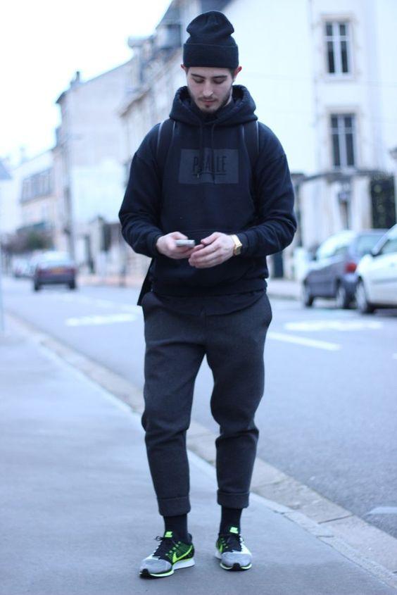 phối đồ với áo hoodie nam theo kiểu dáng